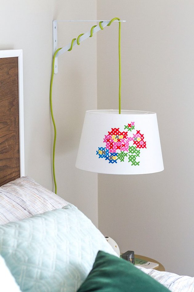 How to Make a Faux Cross-Stitch Lampshade (With Free Pattern)
