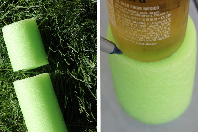 Cut a 4-inch piece of pool noodle and trace the outline of a beverage bottle on the end of the pool noodle.