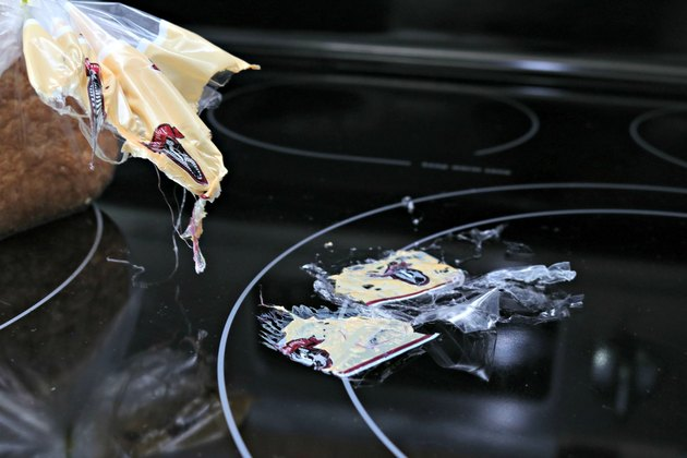 how to clean melted plastic off a stovetop burner