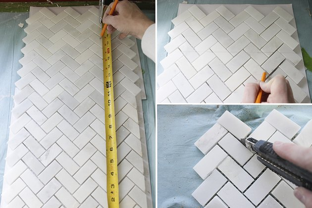 Cutting partial square mosaic tile.