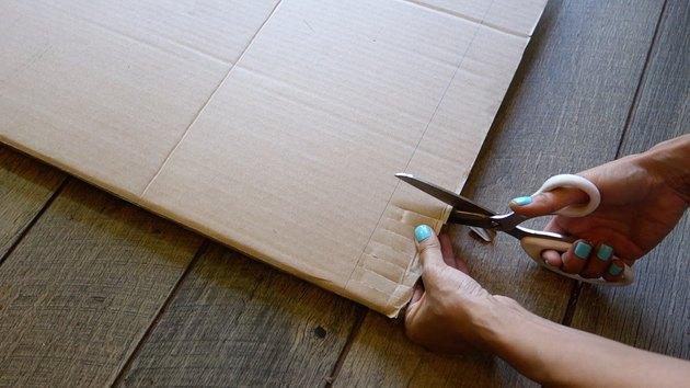 Making cardboard rag rug loom.