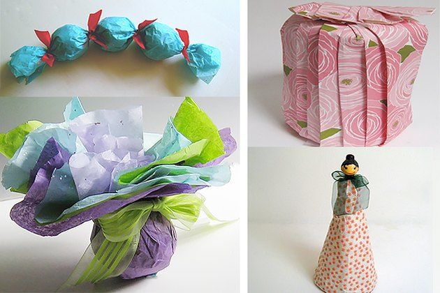 an assortment of round gifts wrapped in various ways