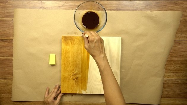 Staining wood with instant coffee.