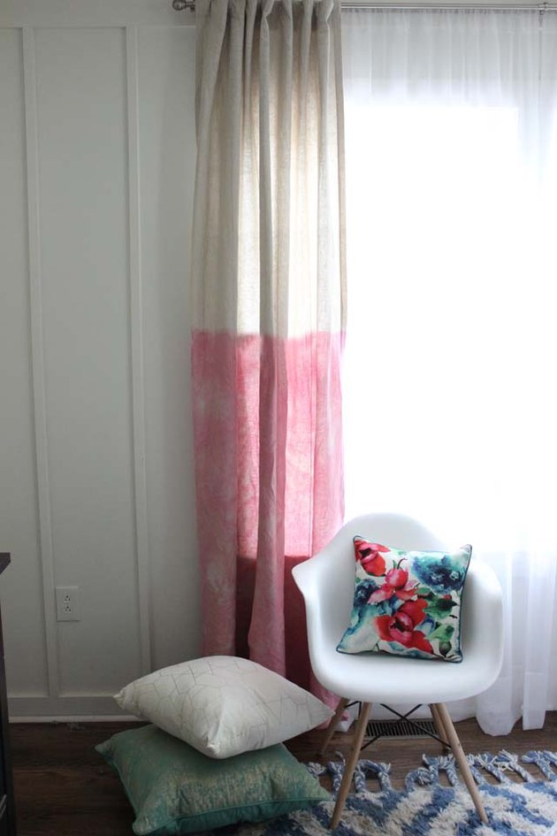 Dyed curtains brighten up any room.