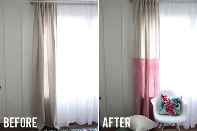 Before and After photos of beige curtains into two toned red and beige