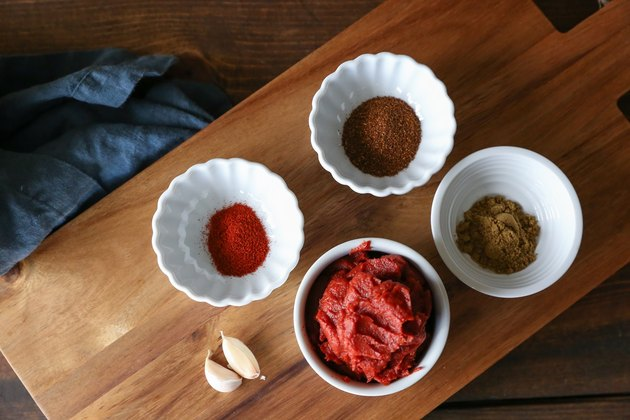 Taco sauce ingredients measured out