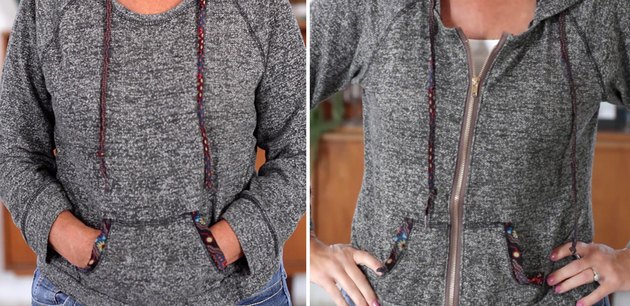 Before and after sweatshirt with a zipper