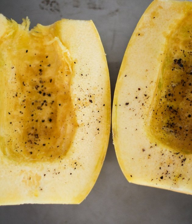 Spaghetti squash with salt and pepper