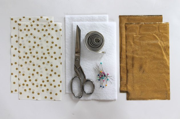 Materials needed to make a sunglass case.