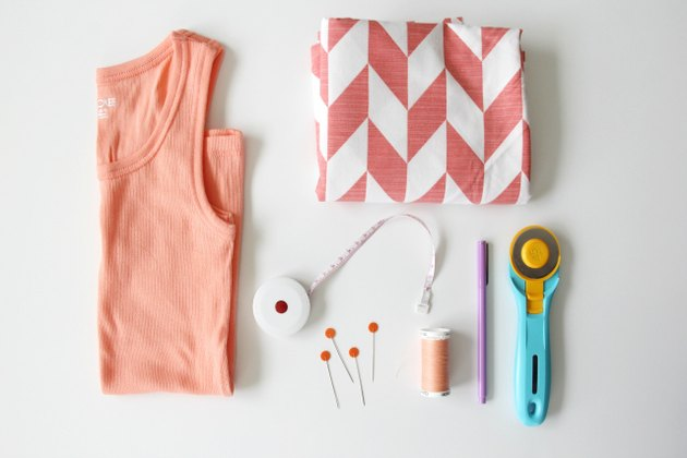 Materials needed to make an easy tank top dress