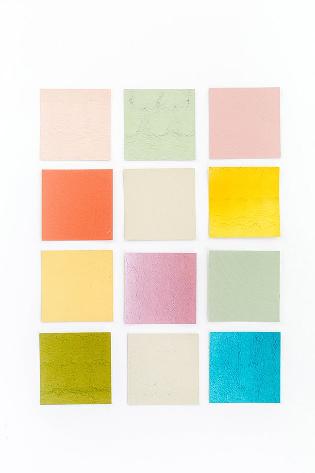 Create a cohesive color palette using paint chips.