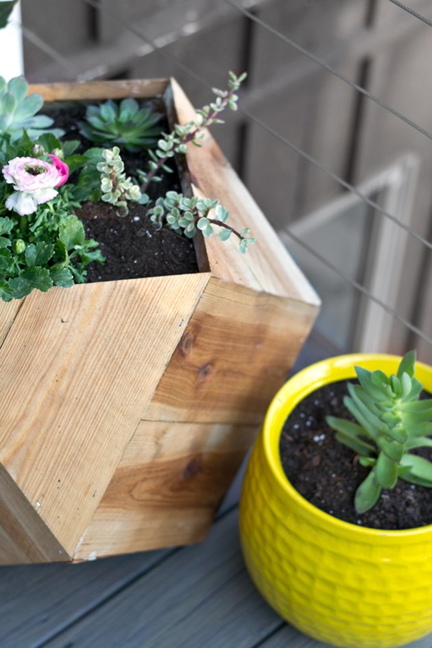 Once the sealer is dry, fill with soil and flowers.