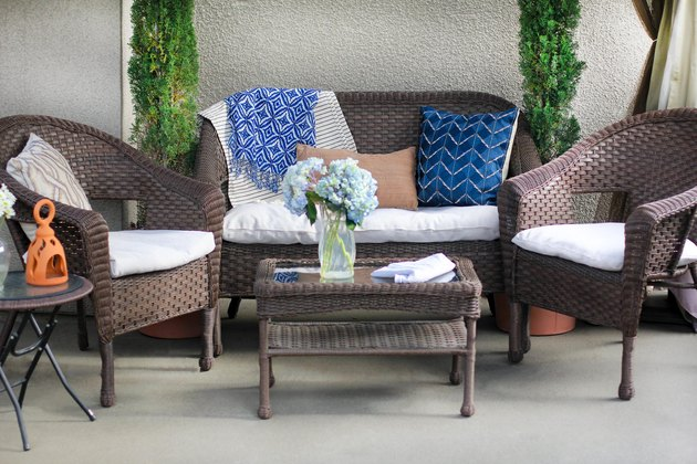 Patio cushions made over with canvas drop cloth covers