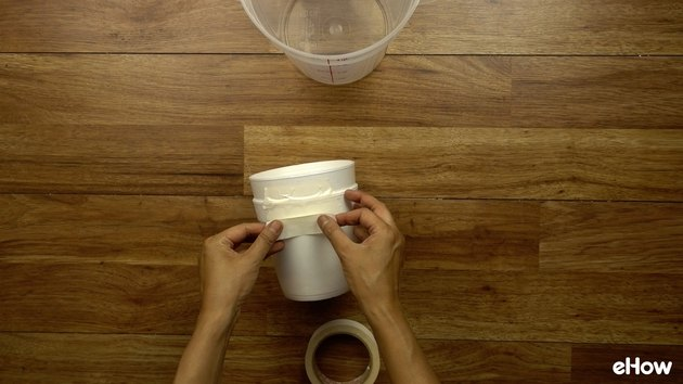 Cutting styrofoam container for DIY Mini USB Desktop Air Conditioner