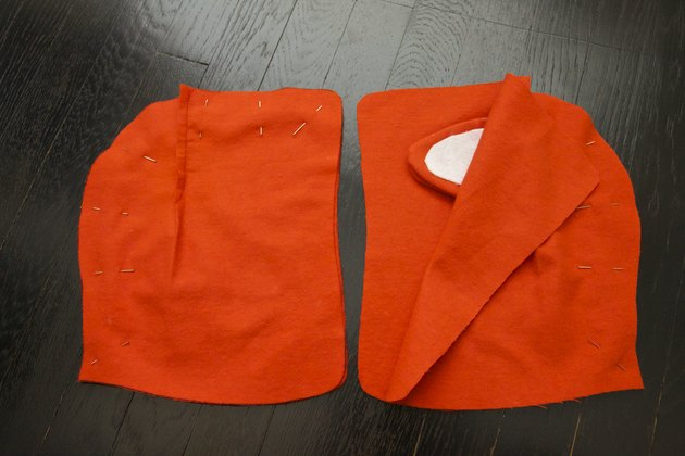 The non-ear hood pieces on the left and the hood pieces with ears on the right.