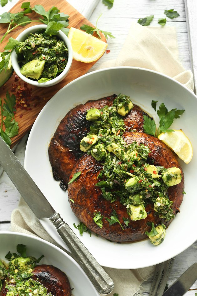 Marinated portobello mushroom steaks.