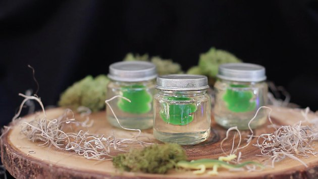 Jars filled with clear gelatin with gummy frogs floating inside