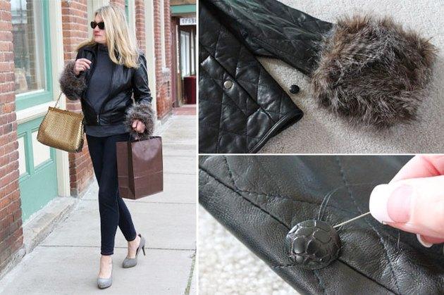 woman wearing removable faux fur cuffs