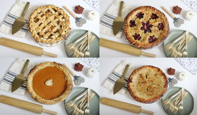 Four different pies decorated with all of the techniques above