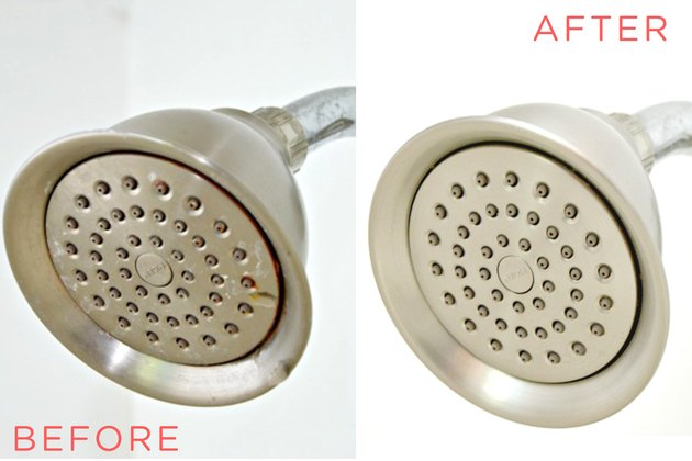 Before and after looks at how to clean a showerhead