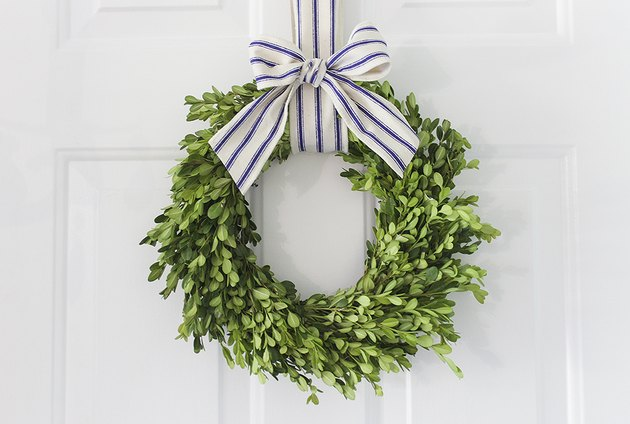 Boxwood wreath hung with blue striped ribbon