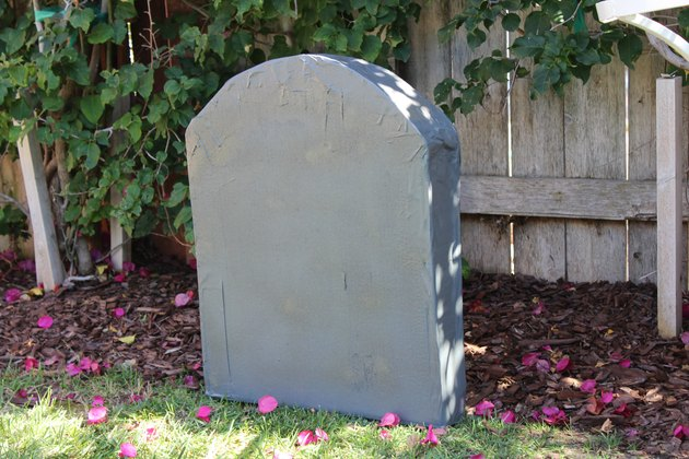 Freshly painted tombstone.