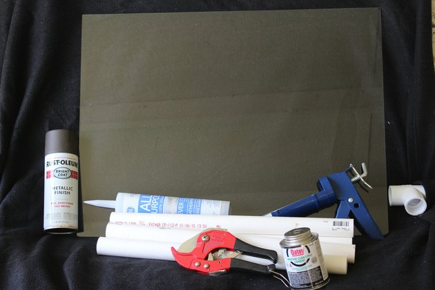 Gathered supplies for PVC pipe table.