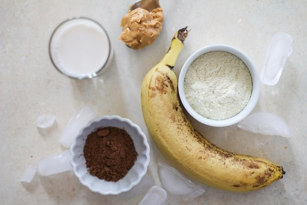 banana, cocoa powder, protein powder, almond butter