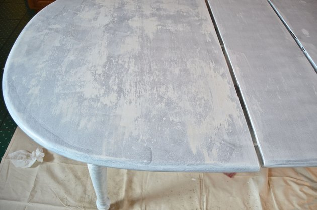 First coat of primer on table