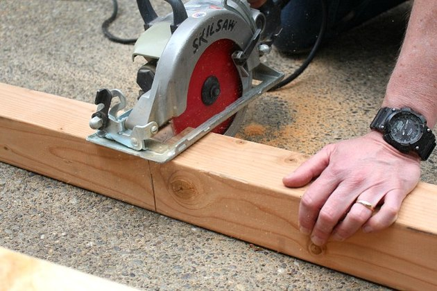 Using a skill saw to cut lumber