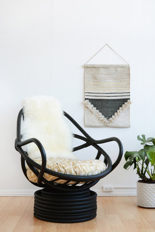 black rattan chair makeover