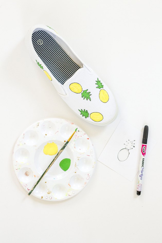paint fruit shoes pineapple