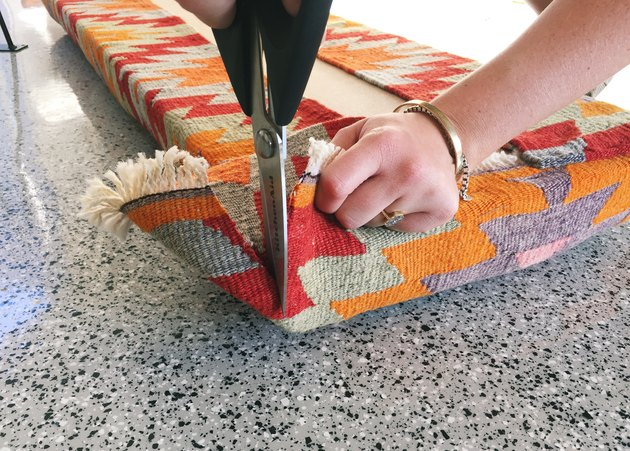 Upholstering the bench corners