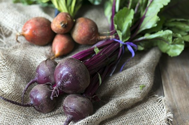 Fresh golden and purple beets.