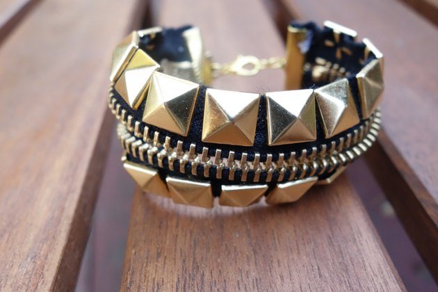Studded bracelet made from a zipper.