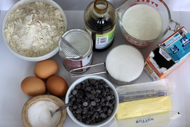 Ingredients for chocolate chip muffins.