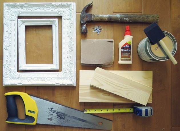 The supplies you need to make shadow box frames.