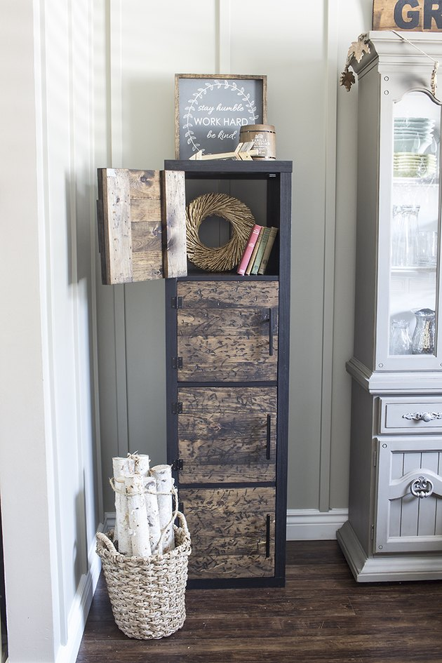 IKEA KALLAX hack with DIY distressed wood doors