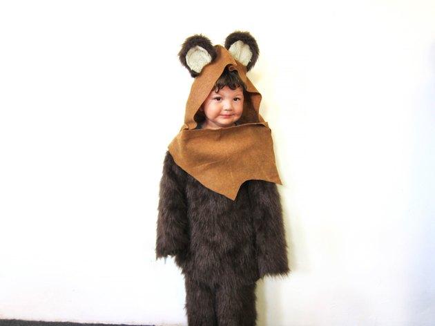 little boy in Ewok costume