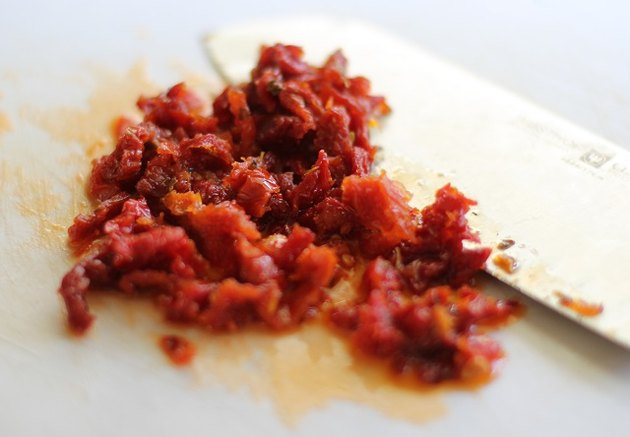 Chopped sun-dried tomatoes.