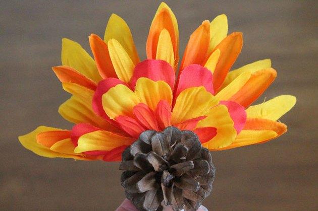 glue petal arrangement into pinecone