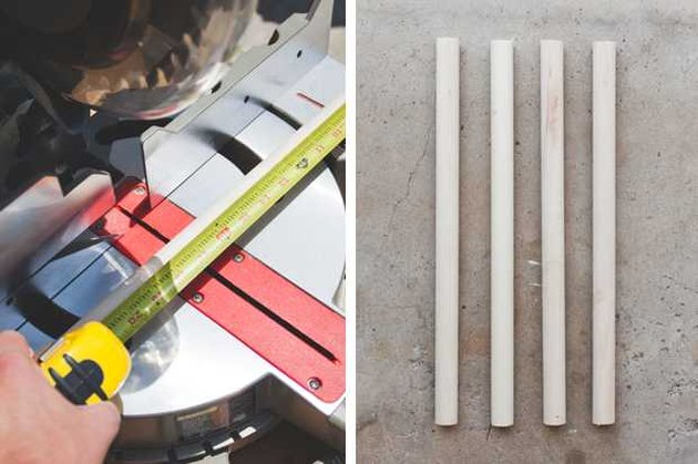 Cutting the dowels to size