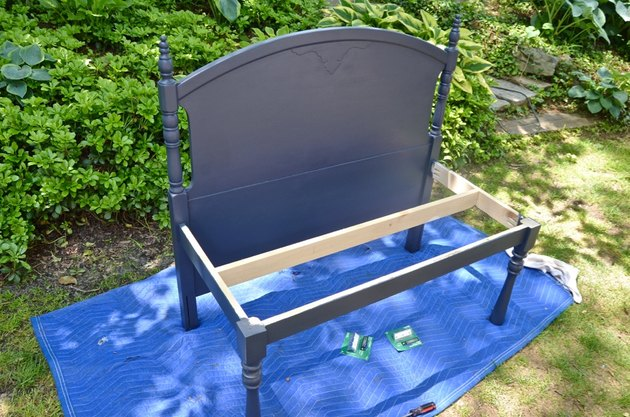painted headboard and bench legs