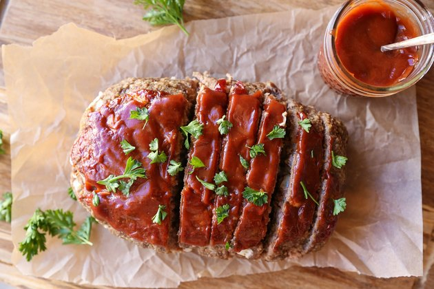 Meatloaf with sauce on top