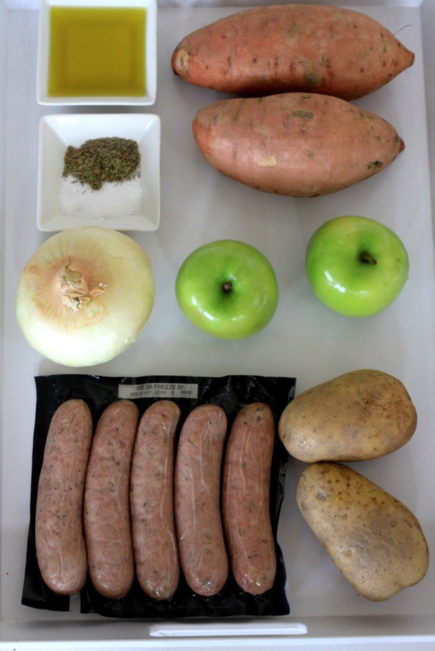 ingredients for sheet pan apple sausage