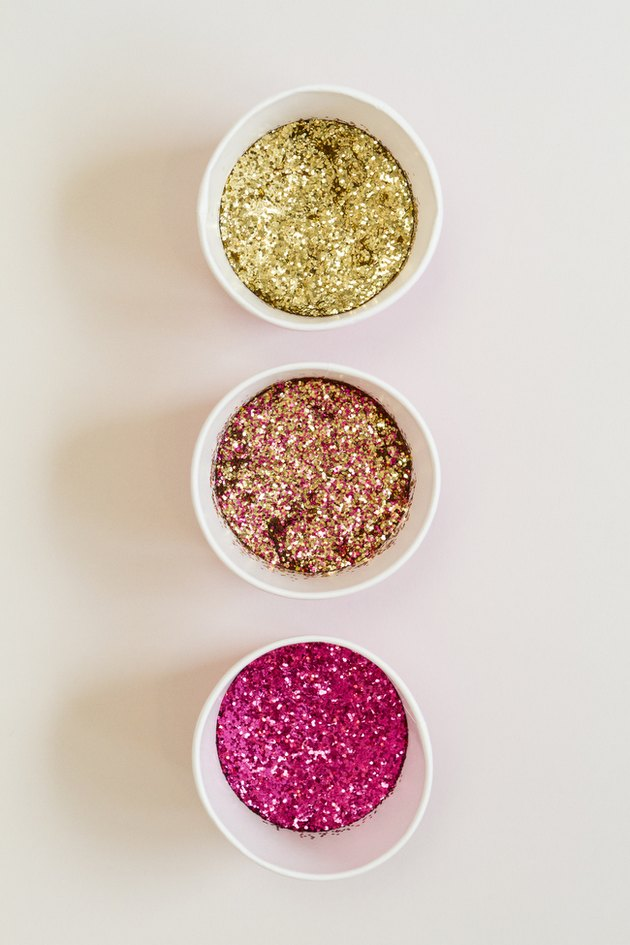Three colors of glitter.