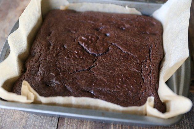 Baking dish of chickpea brownies