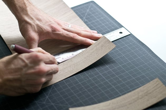 Cut strips of veneer.