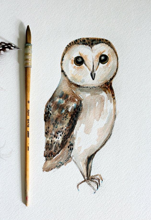 Final painting of watercolor owl