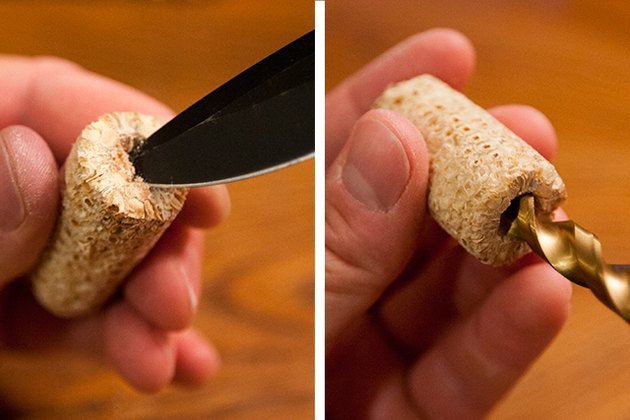 Use a pocket knife and drill to create a bowl to house the tobacco.